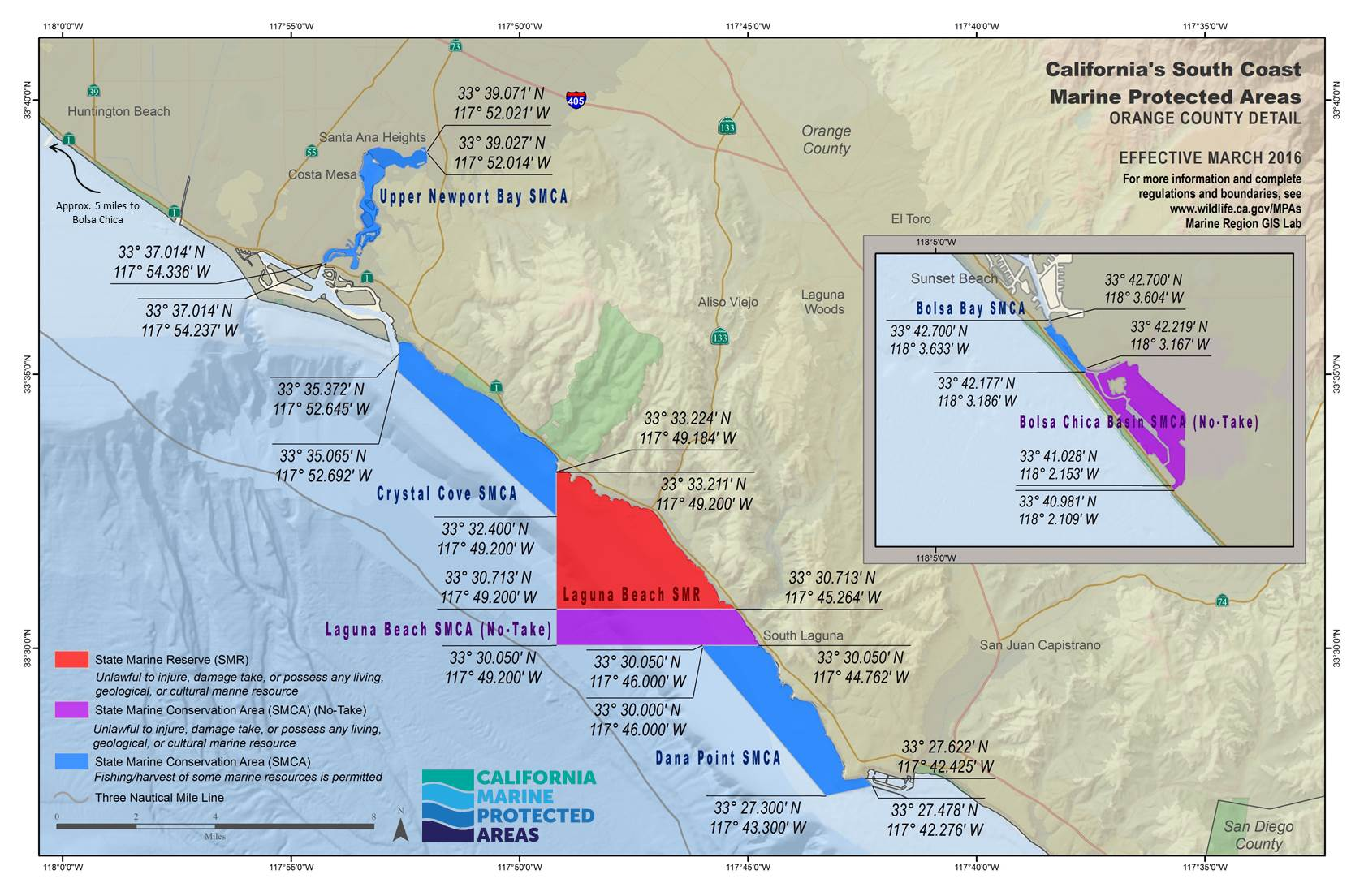 Map of Orange County Marine Protected Areas