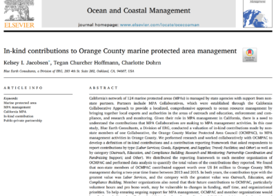 In-kind contributions to Orange County marine protected area management