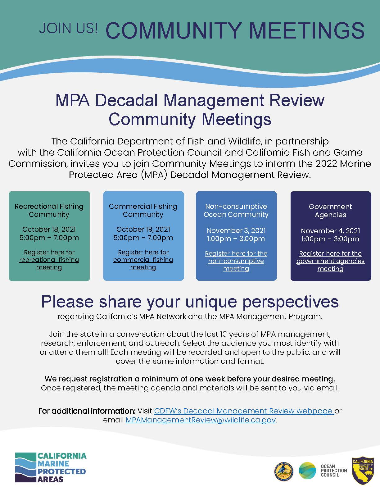 MPA Decadal Management Review Community Meeting – Non-Consumptive users